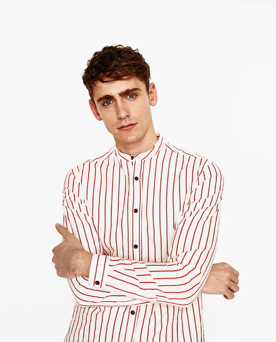 zara red and white striped shirt vicar collar